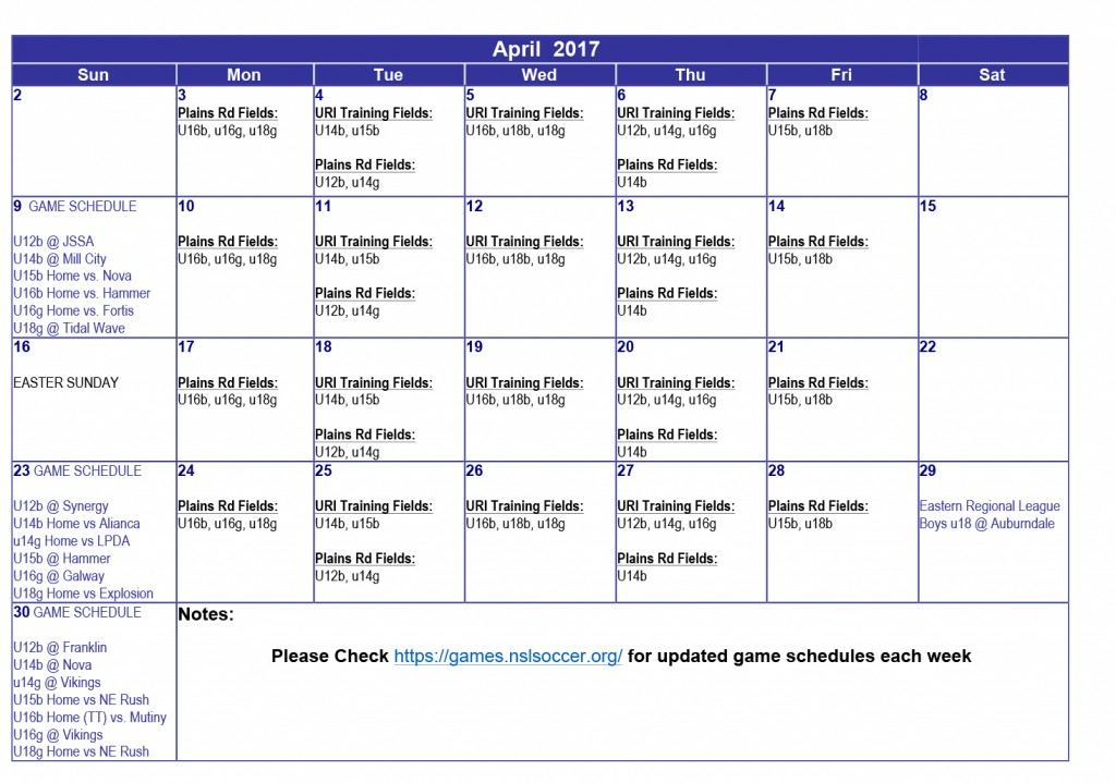 Microsoft Word - April- May Training & Game Schedule.docx